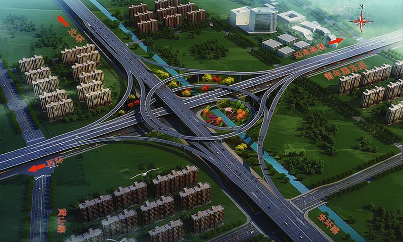 青年路东延至东环路互通效果图 - 内环高架三期加快建设 青年路东延线现浇梁混凝土完成首次浇筑